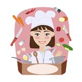 Fun girl on a pink background royalty free illustration