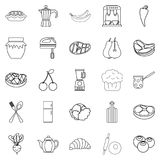 Cook galley icons set, outline style Stock Images