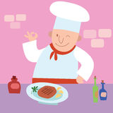 Cook gesture okay the finished dish a restaurant kitchen Royalty Free Stock Images