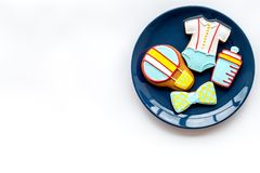Cook gingerbread cookies on plate for baby shower on white background top view mockup