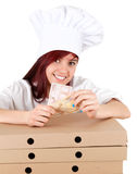 Cook girl with euro money and boxes of pizza Stock Image