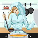 Cook girl kitchen Royalty Free Stock Photo