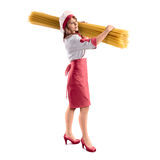 Cook girl with large delicious spaghetti on isolated backgground Stock Photos