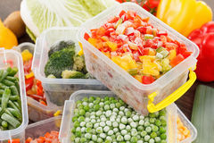 Cook good frozen food recipes vegetables. In plastic containers. Healthy freezer food and meals Royalty Free Stock Image