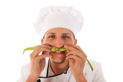 Cook with green beans Royalty Free Stock Photos