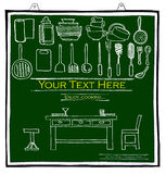 Cook green board pencil sketch Royalty Free Stock Images