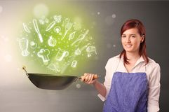 Cook with green doodle vegetables. Cooking with green doodle vegetables and kitchen staff royalty free stock photography