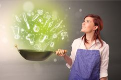 Cook with green doodle vegetables. Cooking with green doodle vegetables and kitchen staff royalty free stock photos