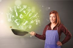 Cook with green doodle vegetables. Cooking with green doodle vegetables and kitchen staff stock image