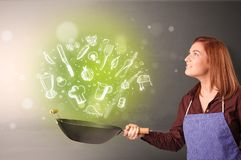 Cook with green doodle vegetables. Cooking with green doodle vegetables and kitchen staffn royalty free stock image