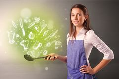 Cook with green doodle vegetables royalty free stock photo