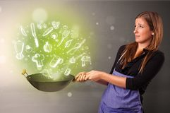 Cook with green doodle vegetables. Cooking with green doodle vegetables and kitchen staffn stock photo