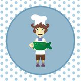 Cook with green fish. Chef in apron and cap holding a fish Royalty Free Stock Photography