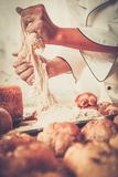 Cook hands preparing dough Royalty Free Stock Photo