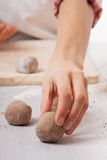 Cook hands preparing dough Royalty Free Stock Image