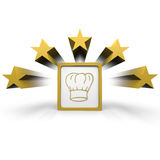 Cook hat. A symbol of a cook hat in a frame with stars around Royalty Free Stock Image