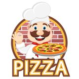 Cook holding pizza in one hand and the other shows the class. Logo royalty free illustration