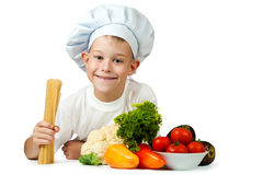 Cook is holding raw spaghetti. isolated Royalty Free Stock Photo
