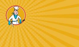 Cook Holding Spatula Knife van de adreskaartjechef-kok Cirkelbeeldverhaal Stock Foto's
