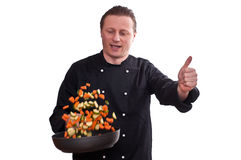 Cook is holding up his thumb Royalty Free Stock Images