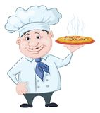 Cook holds a hot pizza Royalty Free Stock Image