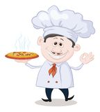 Cook holds a hot pizza Royalty Free Stock Photos