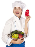 Cook holds pepper. studio Royalty Free Stock Images