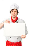 Cook holds a white blank Stock Images