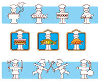 Cook icons. Vectors illustrations of eight cook stock illustration