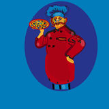 Cook. Illustration of the hand drawn cook with pizza Stock Photo