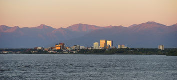 Cook Inlet Anchorage Alaksa Downtown City Skyline Royalty Free Stock Photography