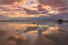 Cook Inlet Sunset. A beautiful sunset at low tide along cook inlet Alaska Royalty Free Stock Images