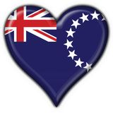 Cook island button flag heart shape Stock Photo