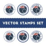 Cook Islander flag rubber stamps set. National flags grunge stamps. Country round badges collection Royalty Free Stock Photos