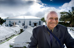 Cook Islander Man outside Arorangi CICC Church Stock Photo