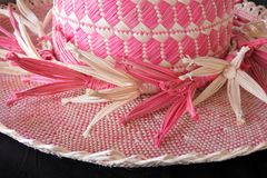 Cook Islander woman woven Rito Hat Rarotonga Cook Islands. Cook Islander woman woven Rito Hat close up detail. Rito hats are worn by women to church. They are Stock Images