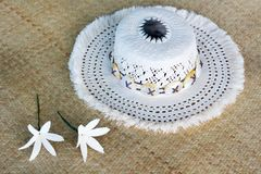 Cook Islander woman woven Rito Hat Rarotonga Cook Islands. Cook Islander woman woven Rito Hat close up detail. Rito hats are worn by women to church. They are Stock Photo