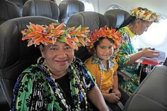 Cook Islanders flaying to Rarotonga from Auckland New Zealand. More than 60,000 Cook Islanders live in New Zealand and only 21,000 remain in the country Stock Photography