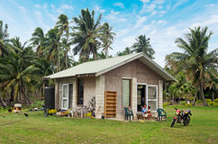 Cook Islanders home in Aitutaki Lagoon Cook Islands Royalty Free Stock Photo