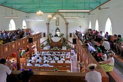 Cook Islanders pray at Cook Islands Christian Church Avarua Raro. Cook Islanders pray at CICC church.94% of Cook Islanders 14,974 associated themselves with a Stock Image