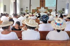 Cook Islanders pray at Matavera Cook Islands Christian Church Ra. Cook Islanders pray at CICC church on Sep 16 2013.94% of Cook Islanders associated themselves Royalty Free Stock Photo