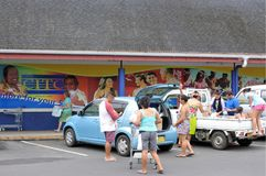 Cook Islanders shopping at CITC Supermarket Rarotonga Cook Islan Royalty Free Stock Photo