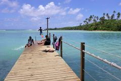 Cook Islanders families during school summer holiday in Rarotonga Cook Islands royalty free stock photos