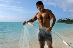Cook Islands fisherman fishing Royalty Free Stock Image
