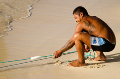 Cook Islands fisherman fishing Royalty Free Stock Images