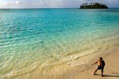 Cook Islands fisherman fishing Stock Photos