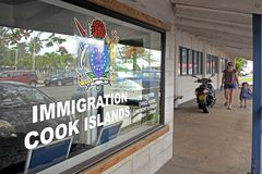 Cook Islands Immigration office in Avarua. Subchiefs in the Cook Islands are calling for the government to tighten immigration and permanent residency rules Royalty Free Stock Photo