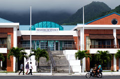 Cook Islands Minister of Justice building in Avarua Rarotonga. RAROTONGA - SEP 16:Cook Islanders pass by the Cook Islands Minister of Justice building on Sep 16 Stock Image