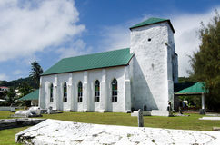 Cook Islands people pray at CICC church. CICC church famous architectural  landmark made out from coral limestone in Avarua Rarotonga, Cook Islands Royalty Free Stock Image