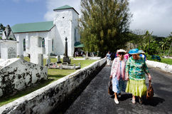 Cook Islands people pray at CICC church Stock Photos